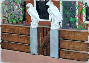 Stadswerken - City Twins, Eagles, mixed media on paper, 2018