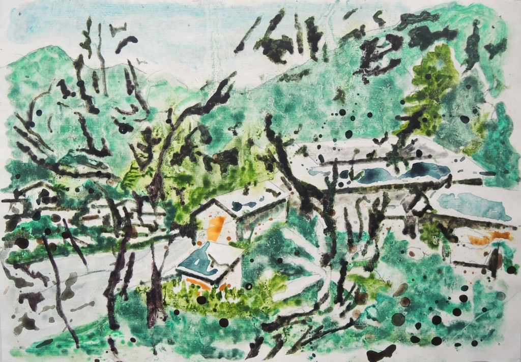 Landscape at Fujian, mixed media on paper, 2020