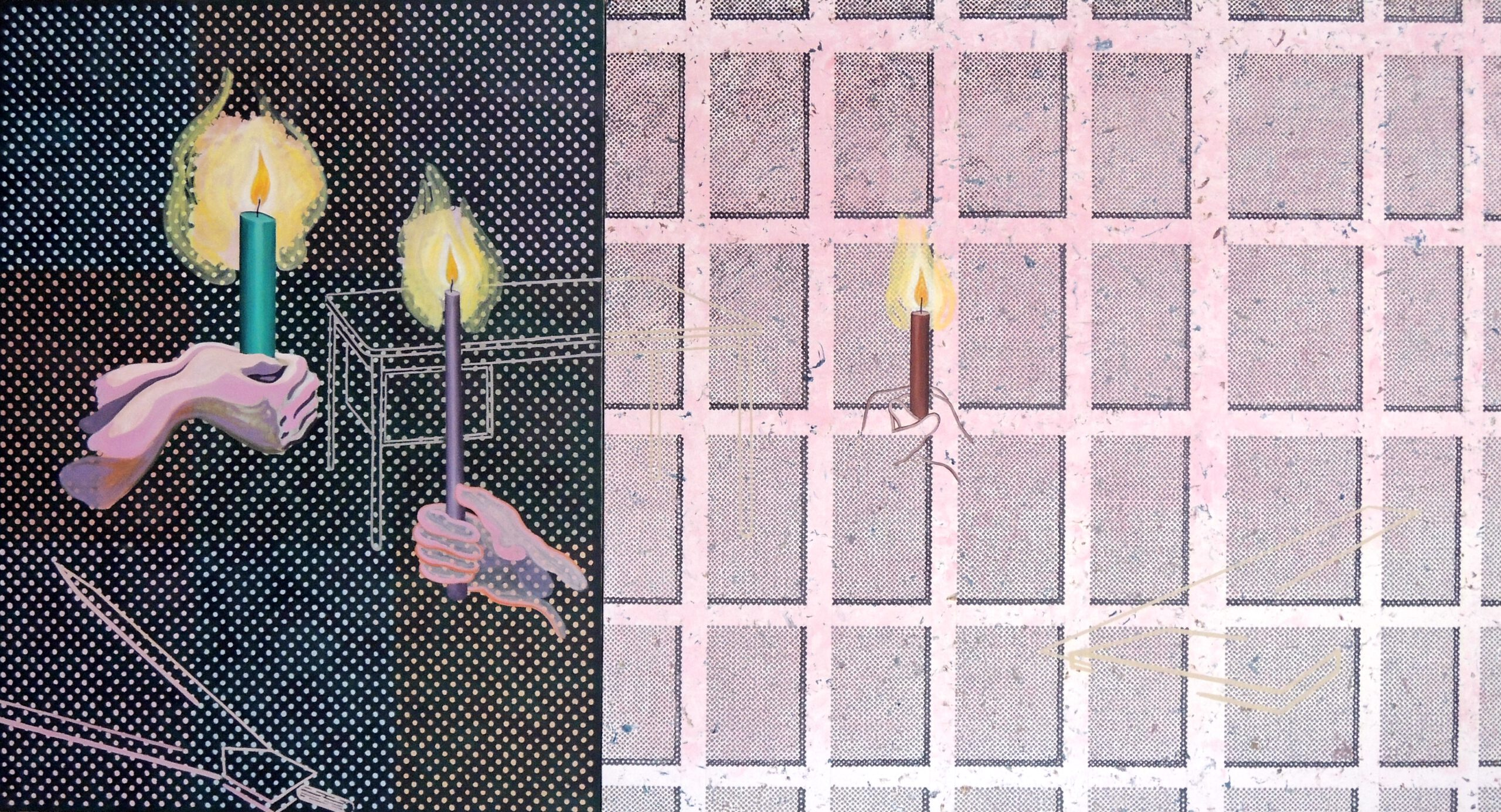 Candles to Squares, oil on canvas, 160 x 295 cm, 1994